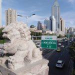 lion de pierre Urumqi. le Xinjiang chine