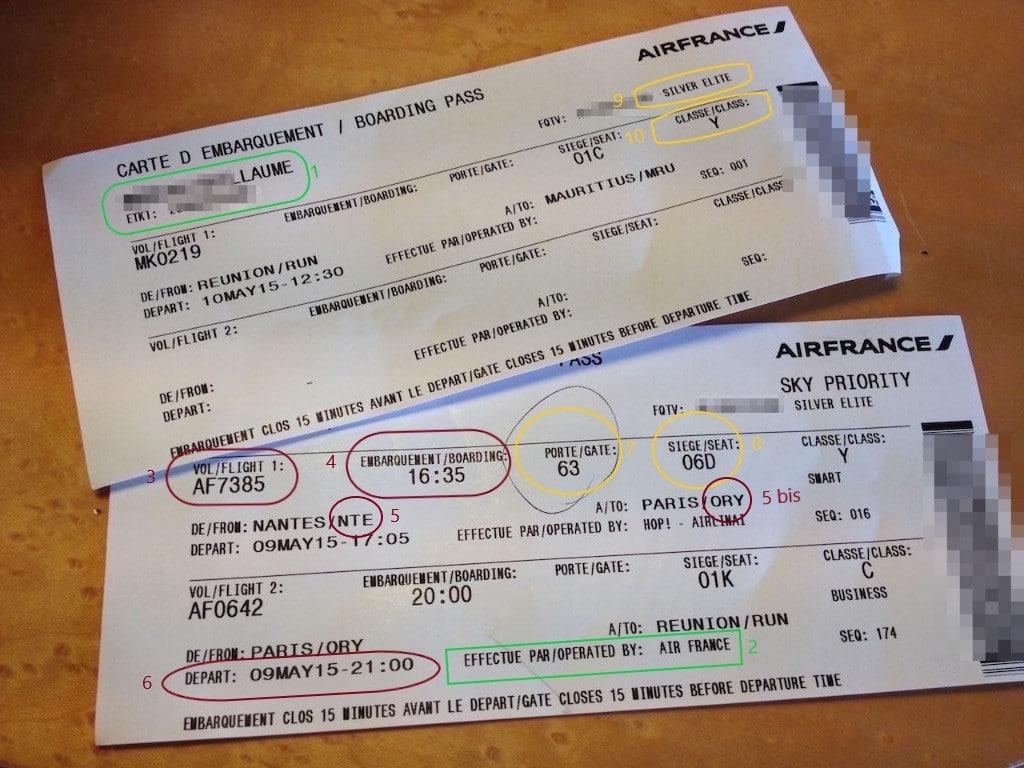 Explications du billet d'avions. airlines et vol