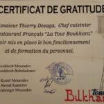 certificat de gratitude ouzbekistan