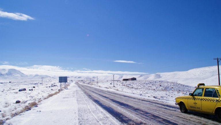 route eneigée en iran